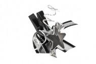 6 Pinces à linge noires et argents étoile