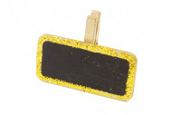 6 Pinces à linge ardoises pailletées or  4 cm x 2 cm