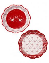 8 Assiettes en carton Chalet de Noël