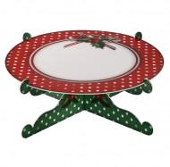 Support à gâteau vert et rouge à pois Noël