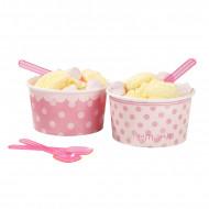 8 Pots à glace avec petites cuillères roses Pink party