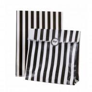 10 Sachets papier rayés noirs et blancs