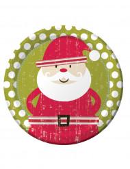 8 Assiettes en carton Père Noël rétro 23 cm