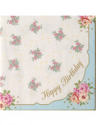 20 Serviettes en papier Happy Bithday Thé entre copines 33 x 33 cm