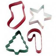 4 Emportes pièces sapin, sucre d'orge, étoile et chaussette