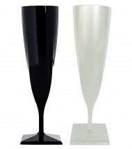 Flûtes à champagne plastique noir et nacré x 4