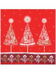 20 Serviettes en papier Esprit de Noël rouge 33 x 33 cm