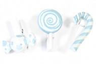6 Pinces à linge Bonbons bleus