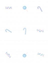 9 Confettis de table en bois Bonbons bleus