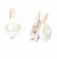 6 Pinces à linges coquillages et perles Marin