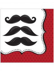 16 Serviettes en papier Moustaches 33 x 33 cm