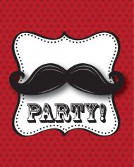 8 Cartes d'invitation avec enveloppes Moustache