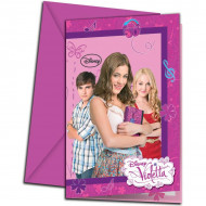 6 Cartes d'invitations avec enveloppes Violetta™