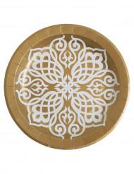 10 Assiettes en carton Mariage Oriental 23 cm