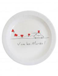 10 Assiettes en carton Vive les mariés 23 cm