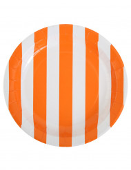 10 Assiettes à rayures orange et blanches en carton 23 cm