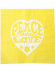 20 Serviettes en papier Jaunes Hippie Peace and Love 33 x 33 cm
