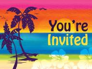 8 Cartons d'invitation fleur Hawaï