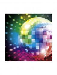 16 Petites serviettes en papier Disco Boule à facettes 24 x 24 cm