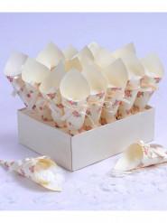 20 Cornets liberty et ses confettis coeur blanc