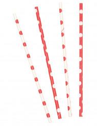 10 pailles rouge à pois blanc