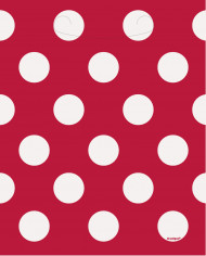8 sacs cadeaux rouge à pois blanc