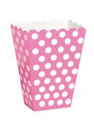 8 boîtes pop corn rose à pois blanc