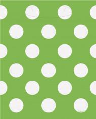 8 sacs cadeaux vert à pois blanc