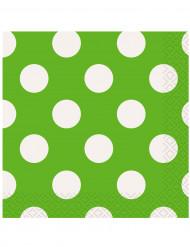 16 Serviettes en papier Vertes à pois blanc 33 x 33 cm