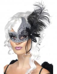 Loup vénitien ange noir avec grande plume noir adulte
