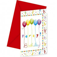 6 Cartes d'invitation avec enveloppes Happy birthday