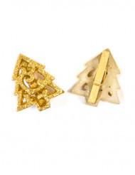 6 Pinces sapin de Noël dorée à paillettes