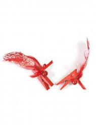 6 Plumes sur pinces rouges Noël
