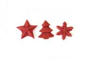 12 Décorations de table Noël rouge 2.5 cm