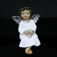 Figurine en résine ange assis