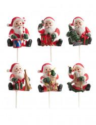 Décoration 6 pics bûche Père Noël