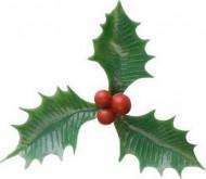 Décoration 6 pics pour bûche houx Noël