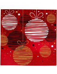 20 Serviettes en papier Boules de Noël  33 x 33 cm
