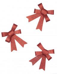 3 Nœuds pailletés rouges