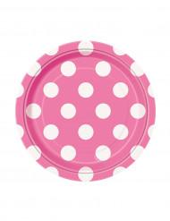 8 Petites assiettes roses à pois blancs en carton 17 cm