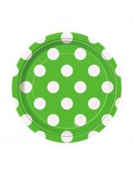 8 Petites assiettes vertes à pois blancs en carton 17 cm