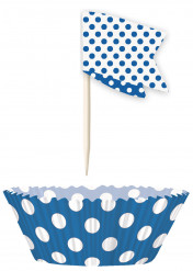 Moules à cupcakes et pics de décoration à pois