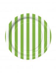 8 Petites assiettes à rayures vertes et blanches en carton 17 cm
