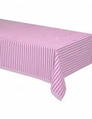 Nappe plastique rayée rose et blanc 137 x 274 cm