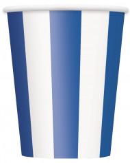 6 Gobelets rayés bleu et blanc