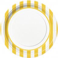 8 Asiettes rayées jaune et blanche 23 cm