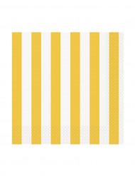 16 Petites Serviettes en papier Rayées jaunes et blanches 24 x 24 cm
