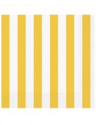 16 Serviettes en papier Rayées jaune et blanc 33 x 33 cm