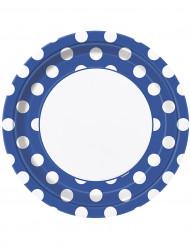 8 Assiettes bleues à pois blancs en carton 22 cm