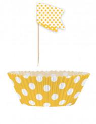 24 Moules à cupcakes et pics de décoration à pois jaunes